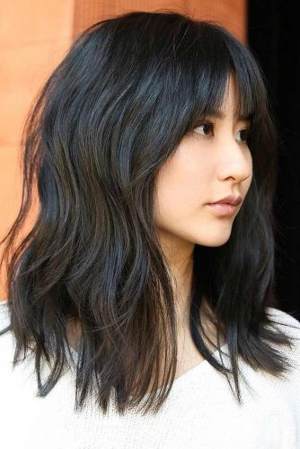 Round Face Layered Hair With Bangs Long Length 23