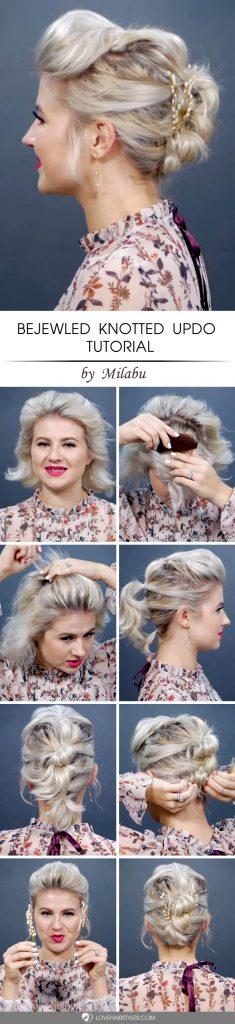 Bejewled Knotted Updo Tutorial #updosforshorthair #updohairstyles #shorthair #hairstyles