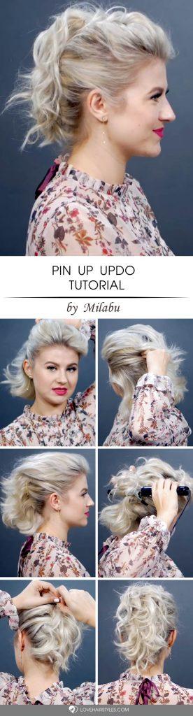 Pin Up Updo Tutorial #updosforshorthair #updohairstyles #shorthair #hairstyles