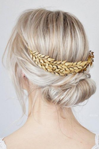 Wedding Hairstyles With Fabulous Bohemian Accessories Updo With Golden Spikelets #updo #blonde #bridalaccessory #bohocrown