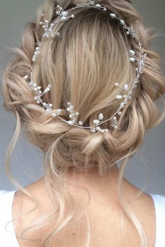 Wedding Hairstyles With Fabulous Bohemian Accessories Braided Crown With Wreath #updo #braidedcrown #bridalaccessory #bohostyle #wreath