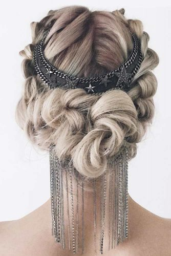 Wedding Hairstyles With Fabulous Bohemian Accessories Braided Updo With Boho Crown #updo #braids #bridalaccessory #bohocrown