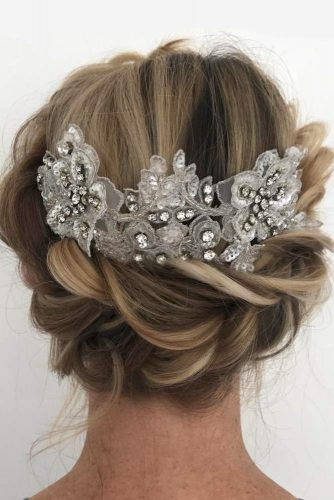 Wedding Hairstyles With Fabulous Bohemian Accessories Updo With Lace Accessory #updo #bridalaccessory #bohostyle #lace