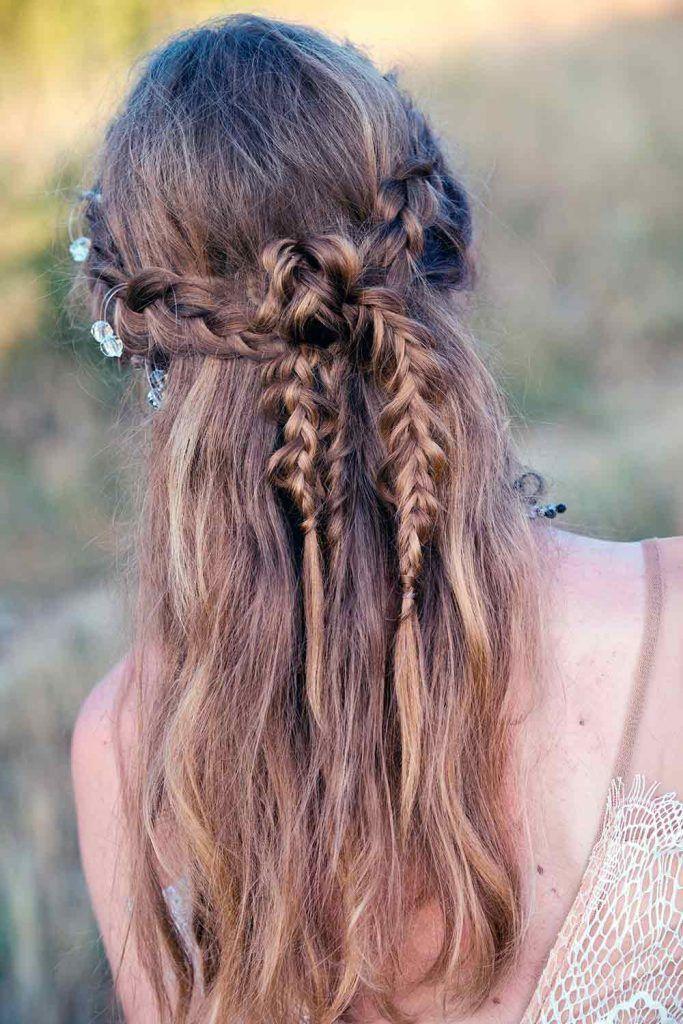 Messy Boho Inspired Half Up Half Down Hairstyles