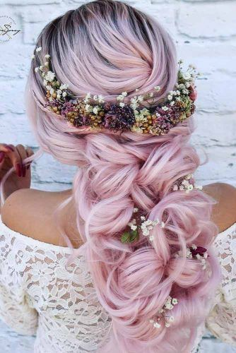 Rose Voluminous Braided Boho Wedding Hairstyles #weddinghairstyles #bohohairstyles