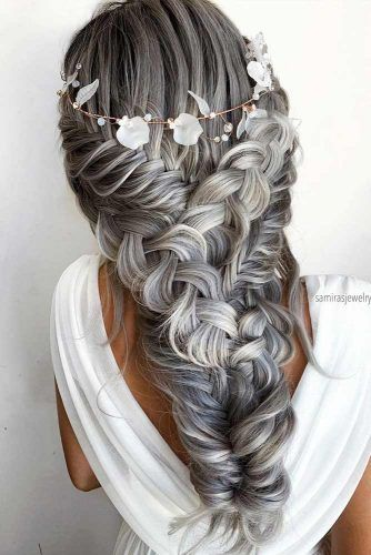 Silver Voluminous Braided Boho Wedding Hairstyles #weddinghairstyles #bohohairstyles