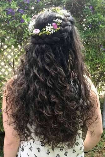 Half Up Braided Long Curly Hair #longcurlyhair #curlyhairstyles #hairtype #hairstyles #longhair