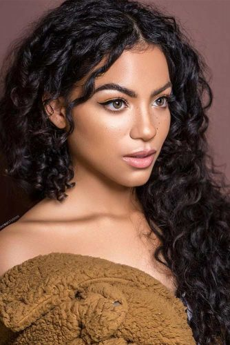 Black Middle Parted Long Curly Hair #longcurlyhair #curlyhairstyles #hairtype #hairstyles #longhair