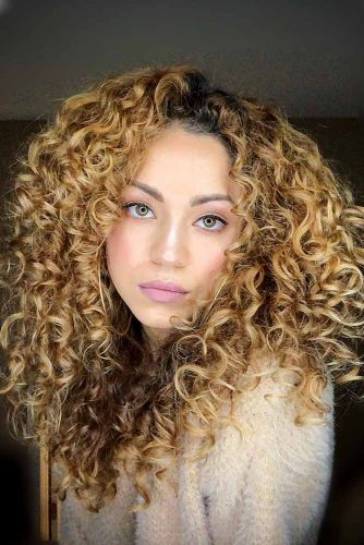 Caramel Middle Parted Long Curly Hair #longcurlyhair #curlyhairstyles #hairtype #hairstyles #longhair
