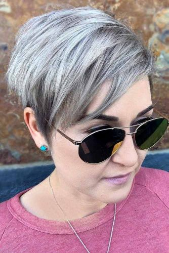 Silver Pixie Cut With Side Bangs #pixiehairstyles #pixiecut #shorthair #straighthair #silverhair
