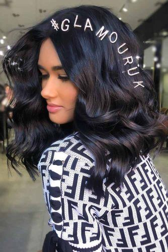 Black With Blue Undertone Layered #blackhair