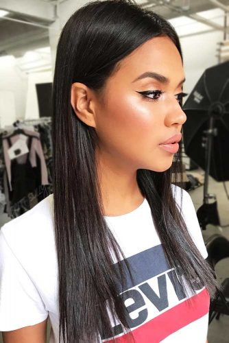 Sleek Black Hair Ideas Long #longhair #sleekhair #brunette #blackhair