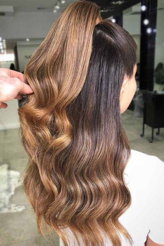 Dark To Light Brown Ideas Ponytail #longhair #wavyhair #brownhair #ombre