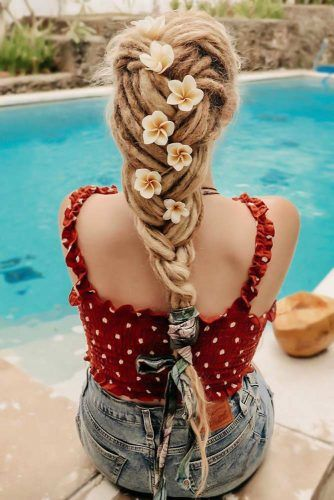 Braided Dreads Flowers #dreadlocks