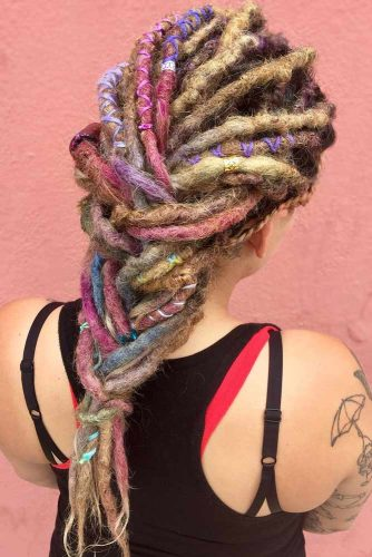 Colored Braided Dreads #dreadlocks #dreadlockshairstyles #hairstyles #braids