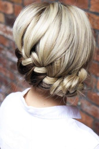 Updo French Braids Hairstyles Bun #braids #updo