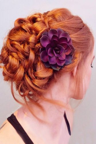 Natural Flowers For Updos Braids #redhair #braids #updo