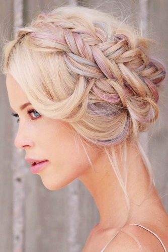 Classic Halo Updos Blonde Hair #braids #fishtailbraid #updo