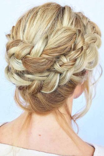 Messy Crown Updos Double Braids #updo #braids
