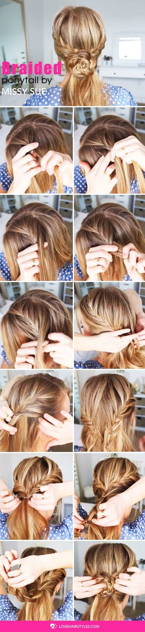 Double Fishtail French Braid Flower Ponytail #braids #hairtutorials