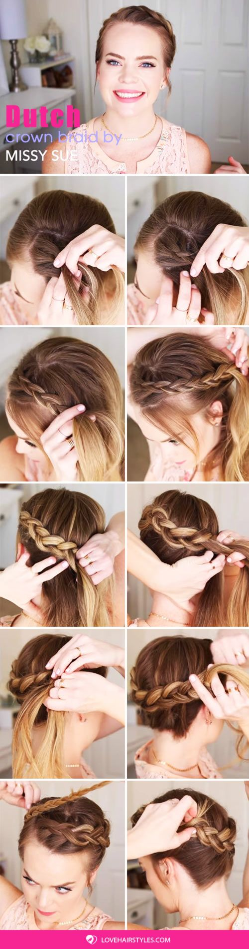 Dutch Crown Braid #braids #hairtutorials