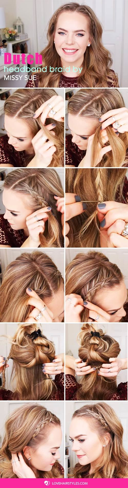 Dutch Braided Headband #braids #hairtutorials