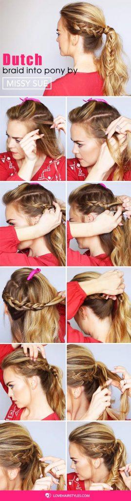 Dutch Braid Fishtail Ponytail #braids #ponytail #hairtutorial