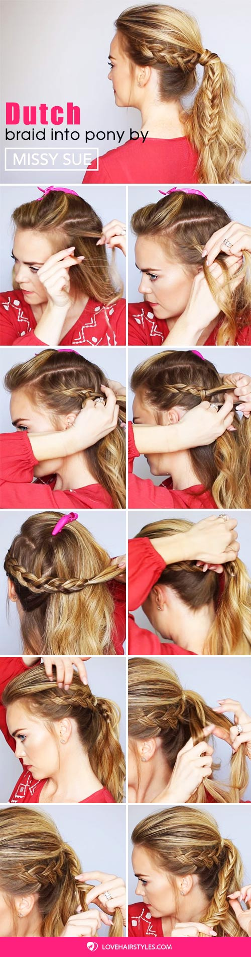 Dutch Braid Fishtail Ponytail #braids #ponytail #hairtutorial