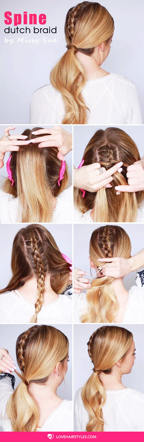 Dutch Spine Braid Low Ponytail #braids #ponytail #hairtutorial