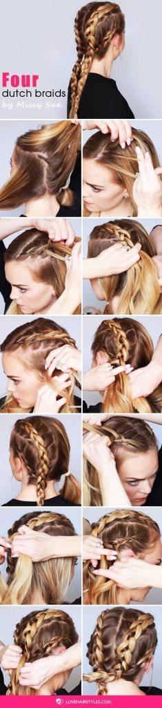 Four Dutch Braids #braids #hairtutorial