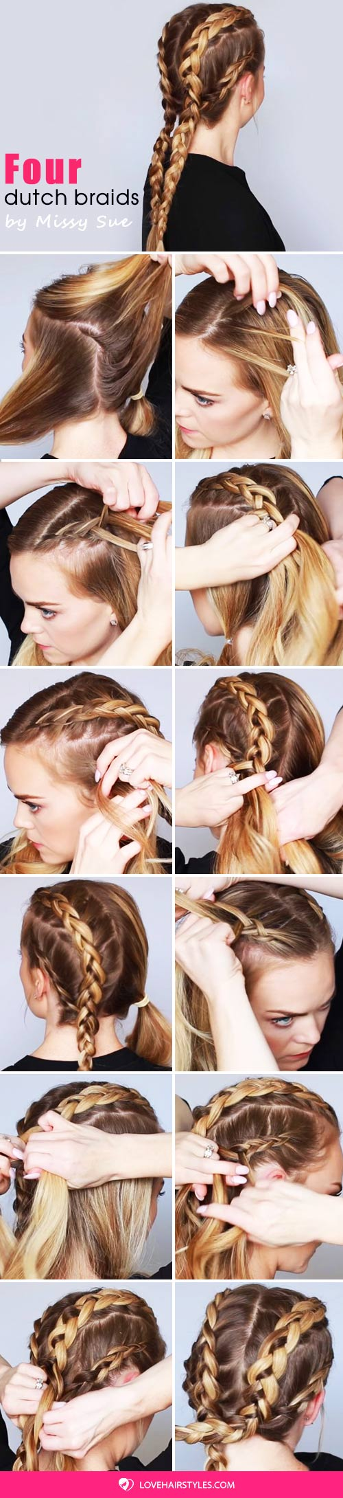 Four Dutch Braids #braids #hairtutorial