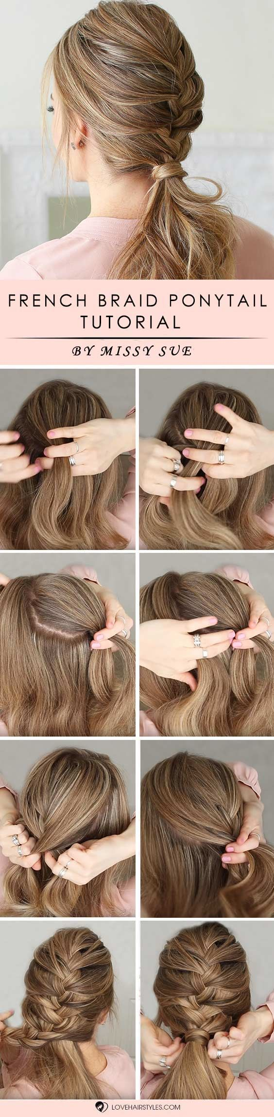 French Braid Ponytail #braids #hairtutorials