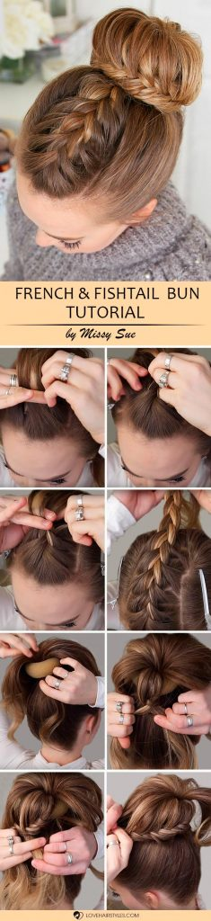 French And Lace Fishtail High Bun