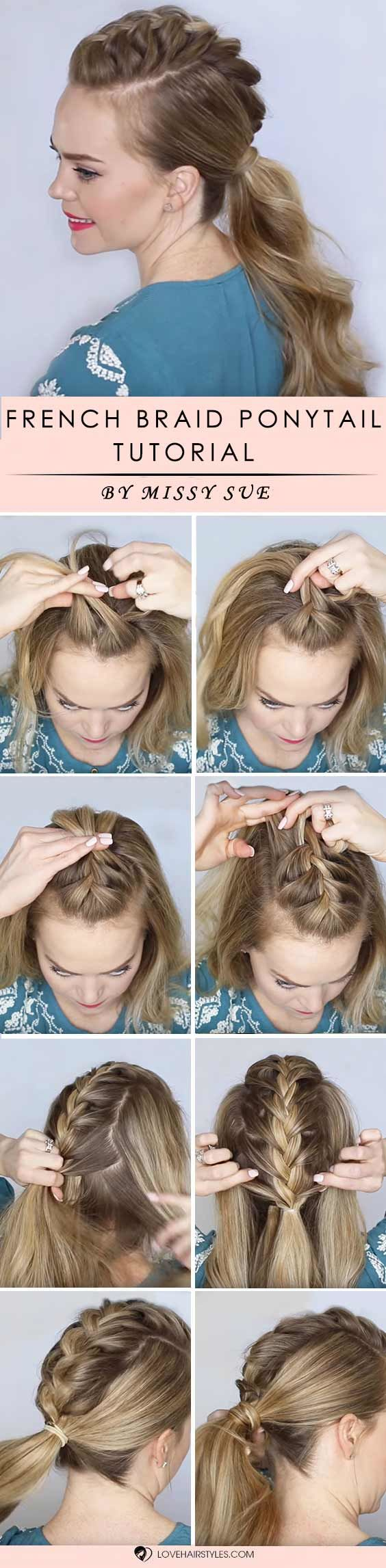 French Braided Ponytail #braids #hairtutorials