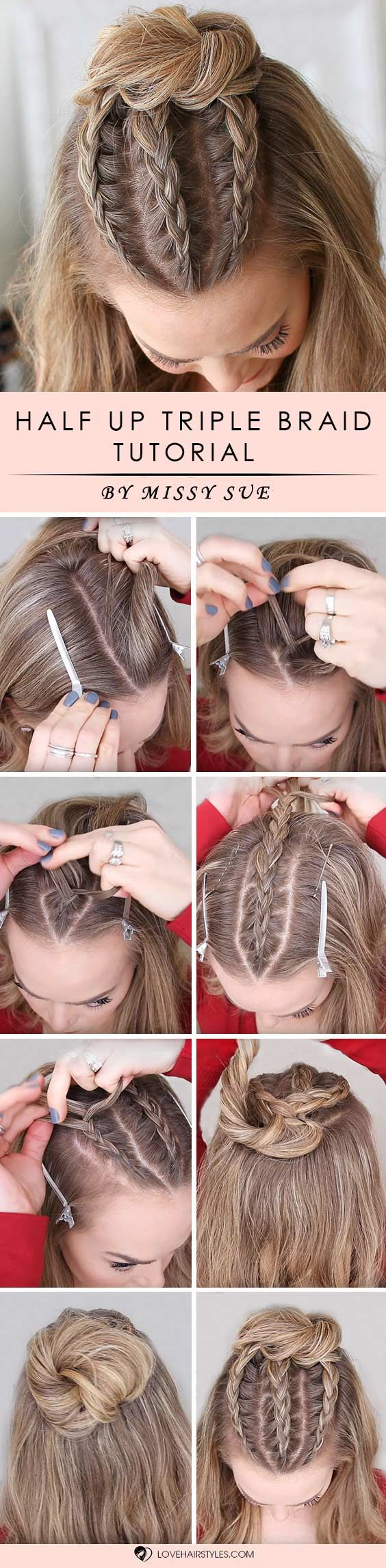 Half Up Triple Braid Mini Bun #braids #hairtutorials