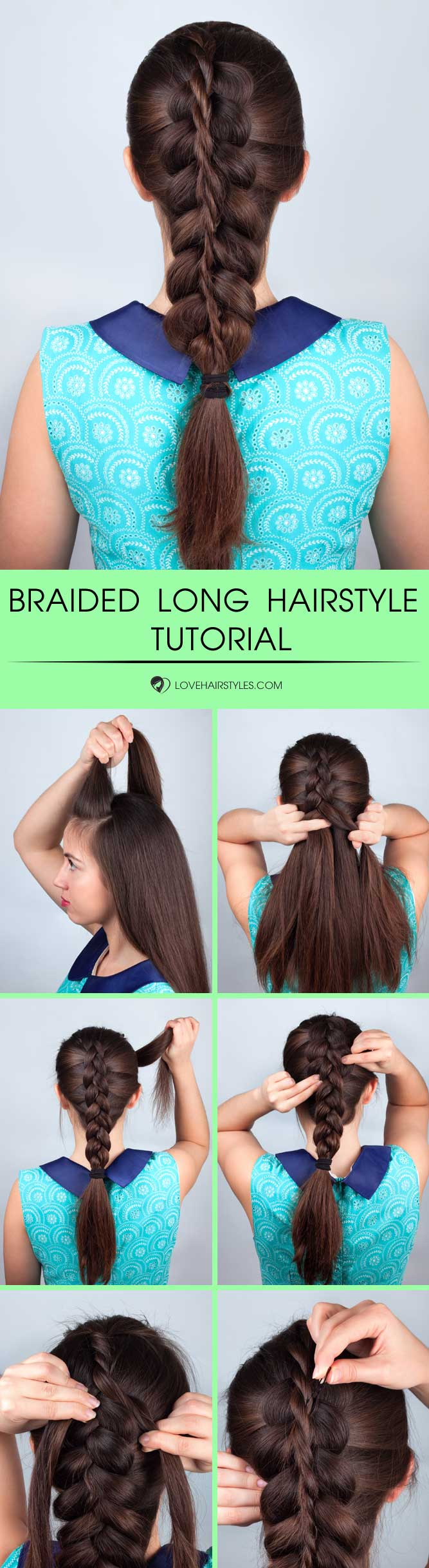 Stacked Braid For Long Hair #braids #hairtutorial