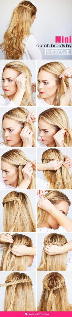 Mini Dutch Braids #braids #half-up