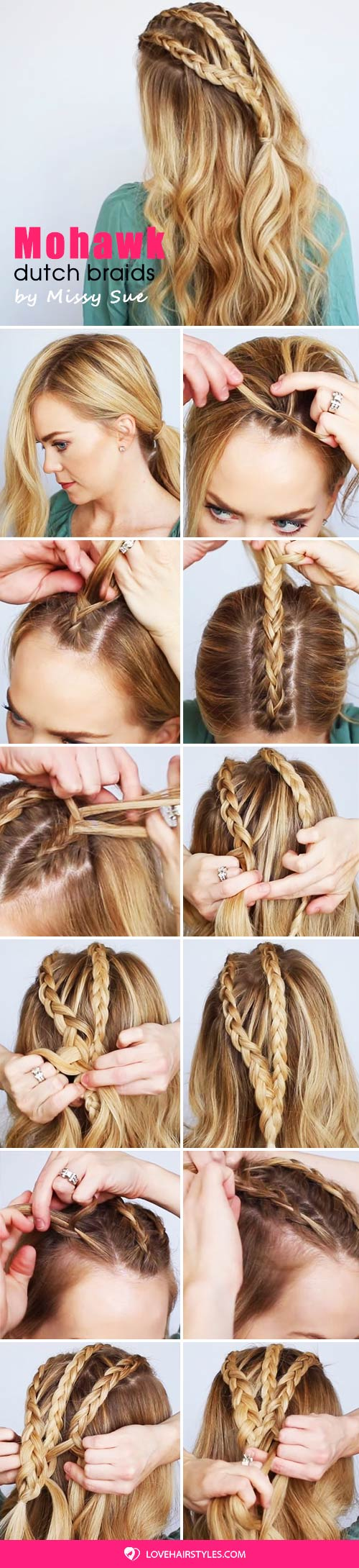 Half Up Mohawk Dutch Braids #braids #mohawk #hairtutorial