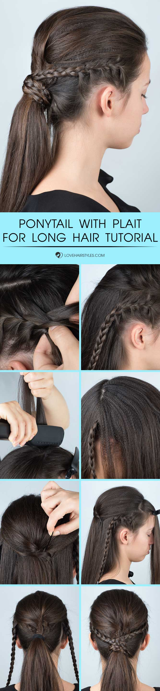 Volume Ponytail Hairstyle With Plait For Long Hair #braids #hairtutorial