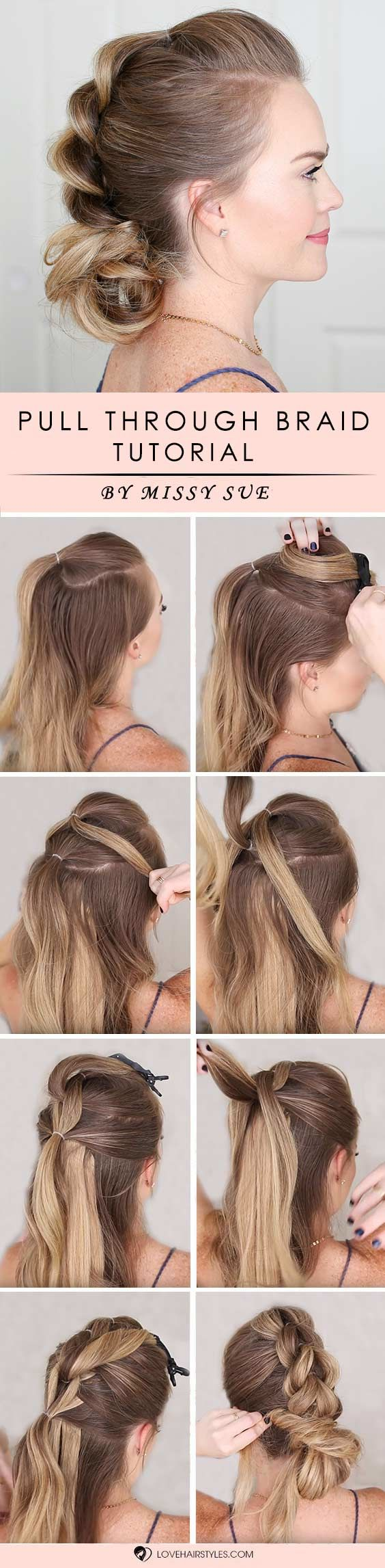 Pull Through Braid Low Bun #braids #hairtutorials