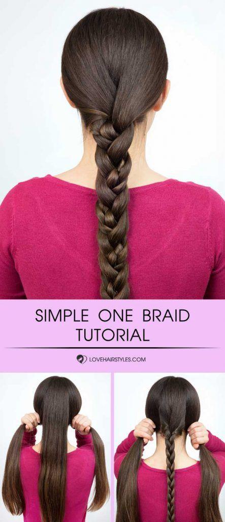 Simple Braid For Long Hair #braids #hairtutorial