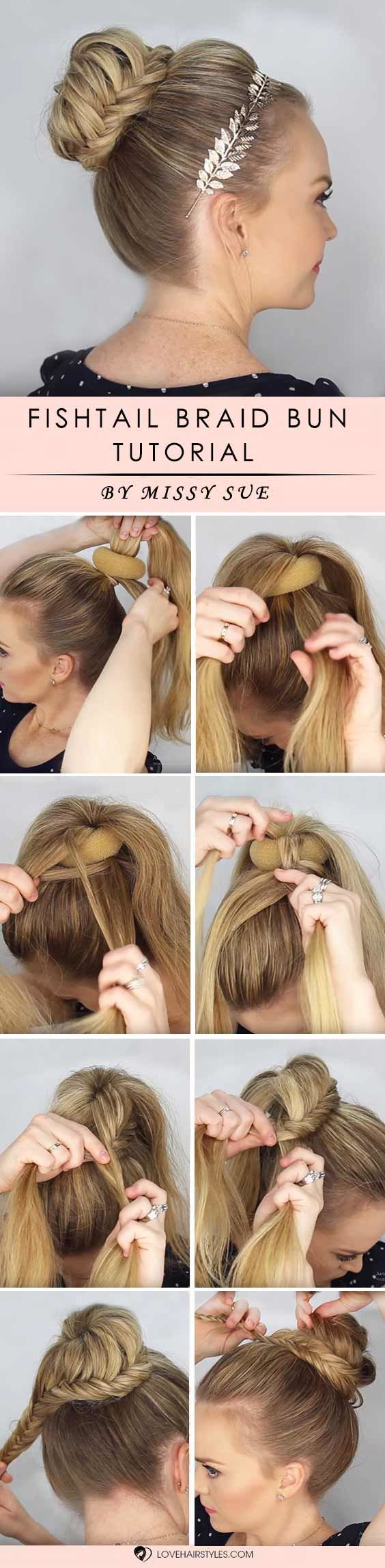 Fishtail Braid Bun #braids #hairtutorials