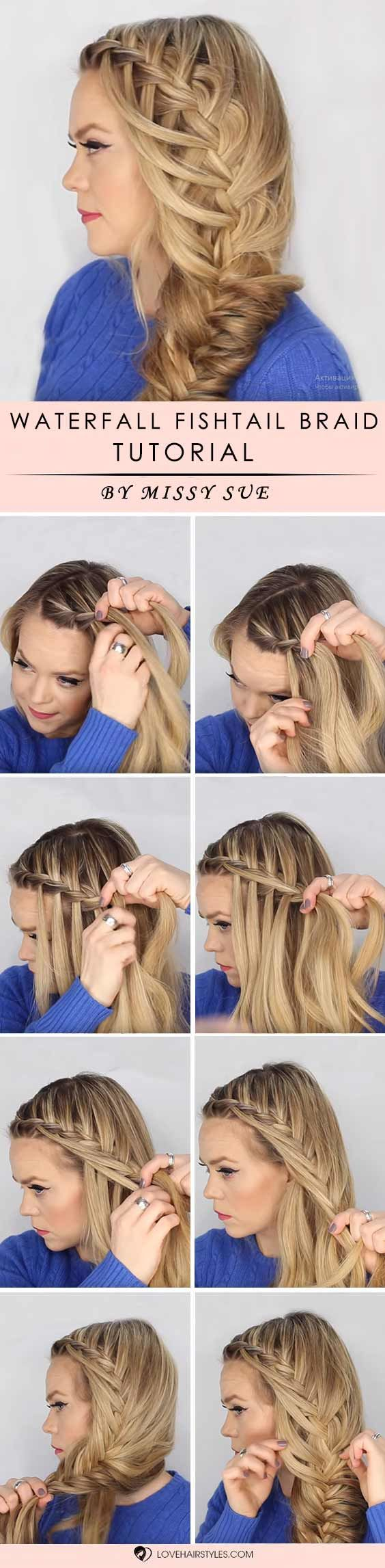 Waterfall Into Fishtail Side Braid #braids #hairtutorials