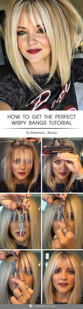 How To Get The Perfect Wispy Bangs #howtocutbangs #bangs #tutorials