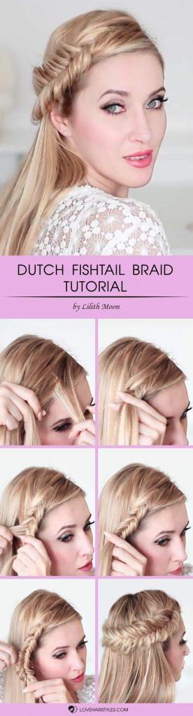 Dutch Fishtail Braid #howtofishtailbraid #fishtailbraid #braids #hairstyles #tutorials