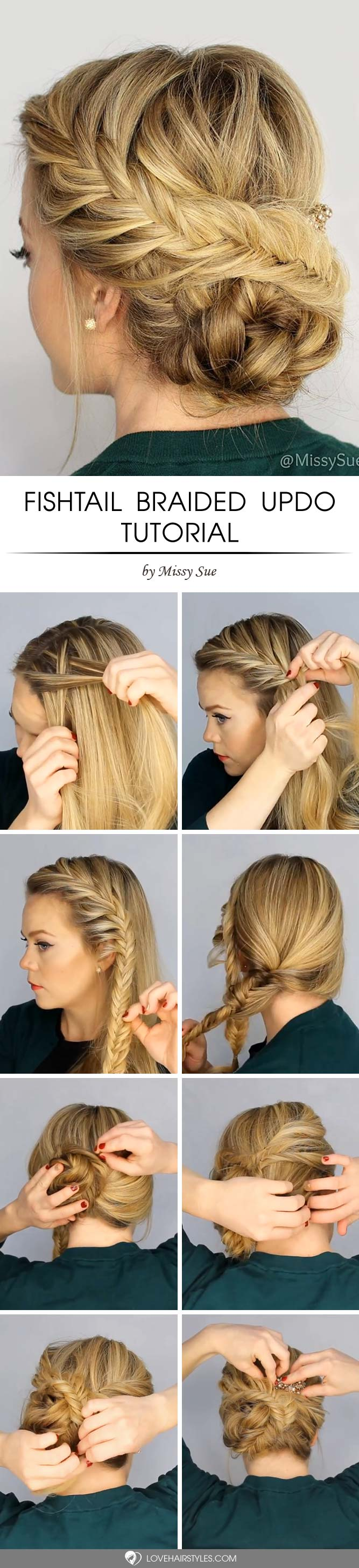 Fishtail Braided Updo #howtofishtailbraid #fishtailbraid #braids #hairstyles #tutorials