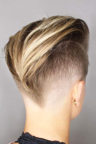 Chick Pompadour With Low Fade