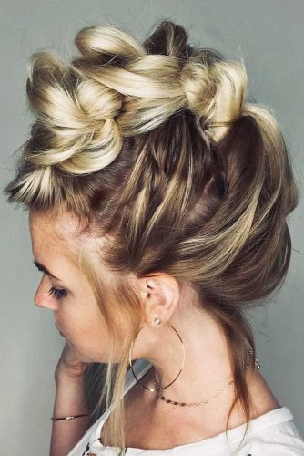 Faux Hawk Hairstyle For Medium Hair #mediumhairstyles #fauxhawk #updo