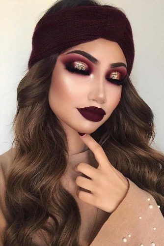 Burgundy Shades In Makeup Glitter #makeup