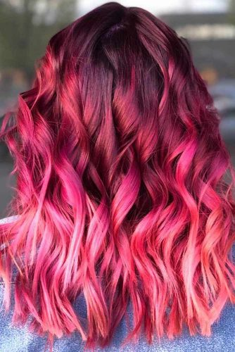 Shades Of Burgundy Ombre Pink #redhair #pinkhair #ombre